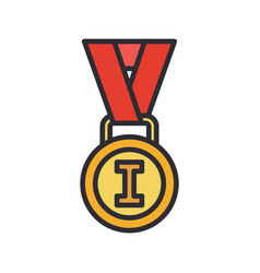 Line color medal and winner award icon vector