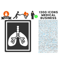 Lungs fluorography icon with 1300 medical business vector