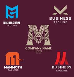 M letter based logo set volume 2 vector