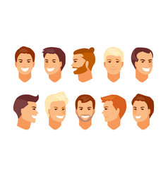 male faces avatars vector image