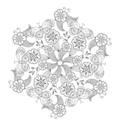 Mendie Mandala with butterflies flowers and vector image