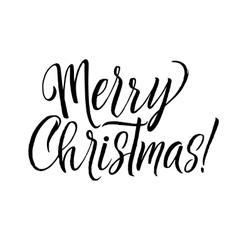 Merry Christmas Calligraphy Greeting Card Black vector image