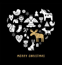 Merry christmas heart-shaped black background vector