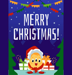 merry christmas inscription and monster vector image