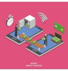 Mobile money transfer flat isometric vector image