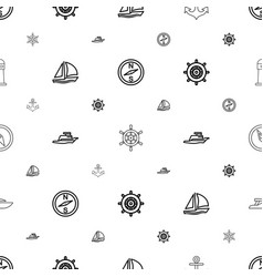 Nautical icons pattern seamless white background vector