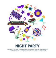 Night party dancing club disco ball and limousine vector