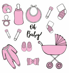 Oh baby set for design and decoration vector