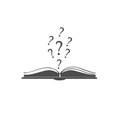 Open book icon with question marks above it vector