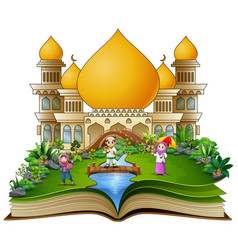open book with a group of muslim people in the fro vector image