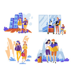 parents with kid travelling and backpacking vector image