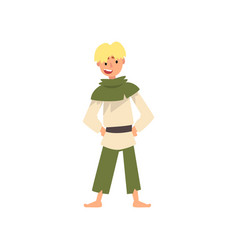 Peasant boy in historical costume medieval vector