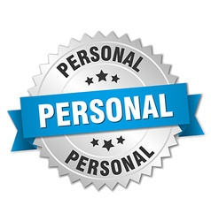 personal 3d silver badge with blue ribbon vector image