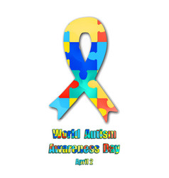 puzzles and ribbon with world autism day vector image
