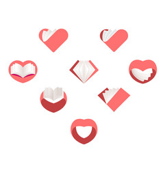 red hearts set collection of love images vector image