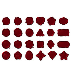 Red wax seal stamps set vector