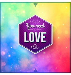 Romantic card on a soft blurry background image vector