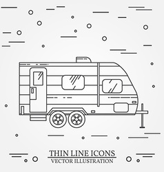 RV camper trailer thin line Camping RV trailer vector image
