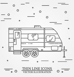 Rv camper trailer thin line camping trailer vector
