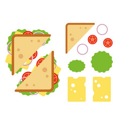 sandwiche top view with tomato onion salad vector image