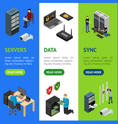 server hardware banner vecrtical set isometric vector image