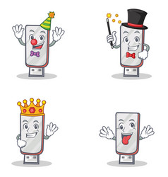 Set of flashdisk character with clown magician vector