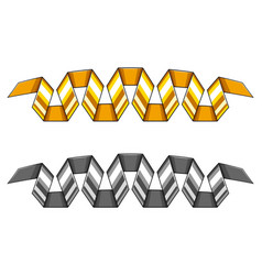 set of golden and silver vector image