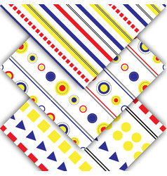 set-pattern-yellow-blue-red vector image