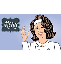 Sexy chef woman in uniform gesturing ok sign with vector