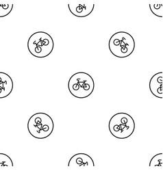 sign bike pattern seamless black vector image