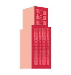 silhouette red color with tower building vector image