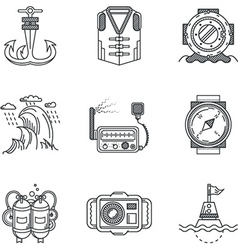 Snorkeling black line icons vector image
