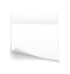 sticky paper note with shadow effect blank white vector image