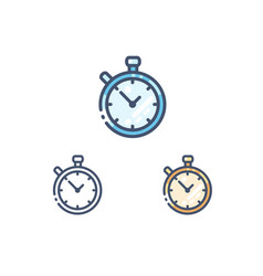 Stopwatch line icons set vector