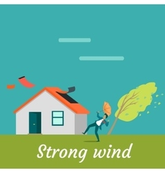 Strong Wind Destroying House and Killing Man vector