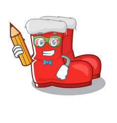 Student santa boots on cartoon shoe rack vector