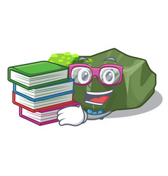 Student with book green rock moss isolated on vector
