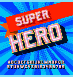 superhero 3d vintage letters vector image