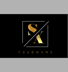 sx golden letter logo with cutted and intersected vector image