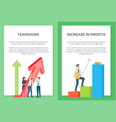 Teamwork and increase in profits set of posters vector