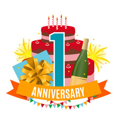 template 1 year anniversary congratulations vector image