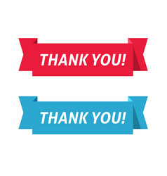 thank you red and blue color ribbon vector image