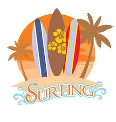 three surf board on a beach vector image