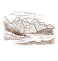 valley landscape mountains and river forest vector image