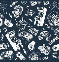 vintage monochrome video game seamless pattern vector image