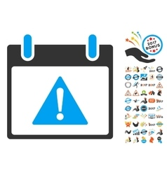 Warning Calendar Day Flat Icon With Bonus vector