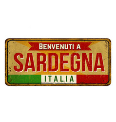 welcome to sardinia in italian languagevintage vector image