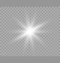white luminous transparent light flash light vector image