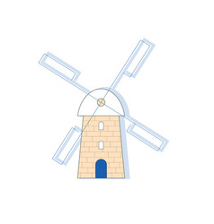 Windmill in greek style vector
