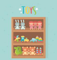 wooden shelf rocket bear doll rabbit dinosaur car vector image